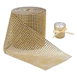 BENECREAT 10 Yards Diamond Sparkling Rhinestone Mesh Ribbon Roll for Arts & Crafts, Event Decorations, Wedding Cake, Birthdays, 4.75'', 24 Row (Gold)