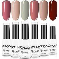 TOMICCA Gel Nail Polish Set 6 Colors, Soak Off UV LED Gel Nail Art, Nail Lacquer Varnish