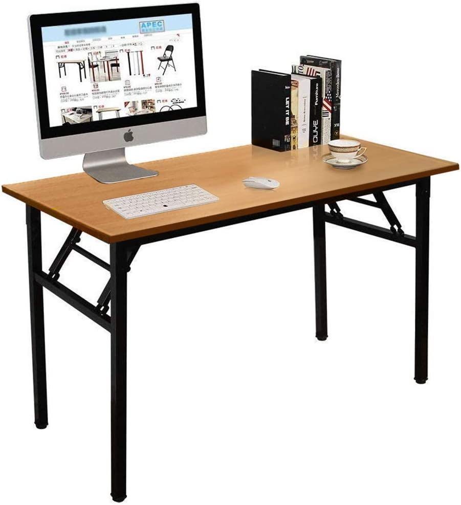 Folding Table Computer Desk, No Assembly Required, Sturdy and Heavy Duty Writing Desk for Small Spaces, Brown