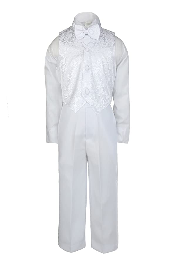 e976f20f2809 Amazon.com  Unotux Boys Christening Baptism Suits Tuxedo White Tail ...