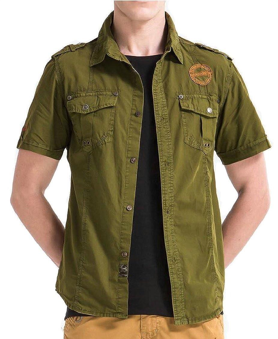Qiangjinjiu Mens Slim Fitted Cargo Army Cotton Short Sleeve Button Down Shirt