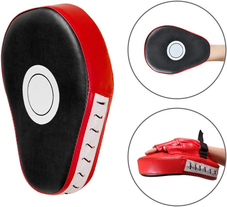 SEISSO Punching Mitts Curved Boxing Kick Pads Leather Material Art Karate Pad Thai Hand Pads Focus Target Kickboxing Hand Targets for Kicking Shield Training,Sparring Dojo 4 Pcs Set