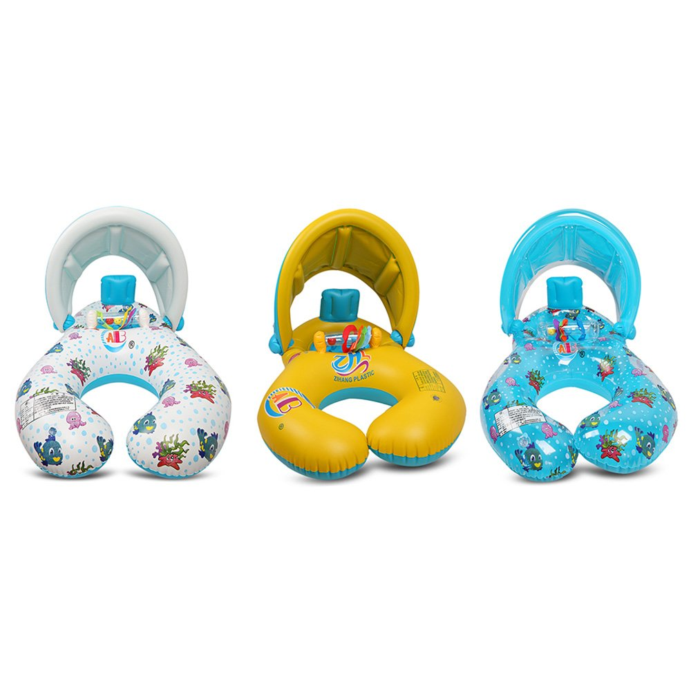 UV Pretection Safety Kids/' Swimming Boat Toy with Sun Canopy Steering Wheel /& Horn Lin-Wu-RR Inflatable Baby Pool Float Swimming Ring for The Age 6-36 Months Kids
