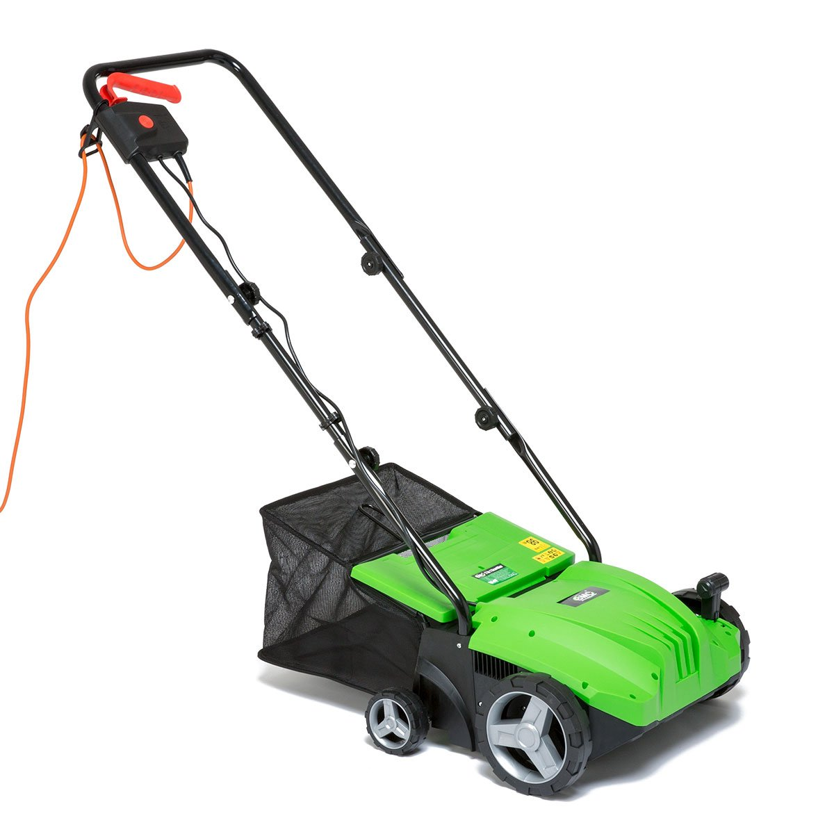 BMC 1500w 2 in 1 Electric Lawn Scarifier Aerator Lawn Rake with 35 Litre Collection Bag & 20 Spring Tine Bar for Removing Moss Leaves & Debris Fitted 10m Cable 5 Depth Positions - 2 Years Warranty