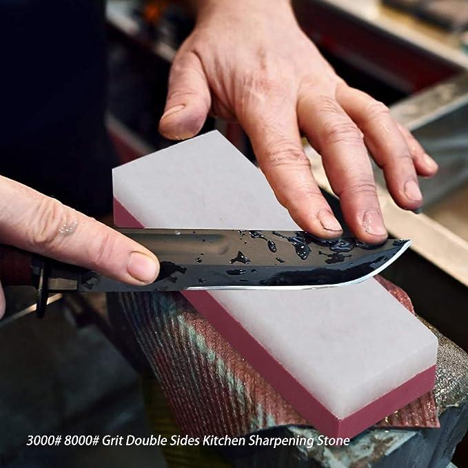 Piedra de Afilar 3000//8000 Doble Cara de Cuchillos Grit Corind/ón Combinaci/ón con Soporte de Silicona Antideslizante