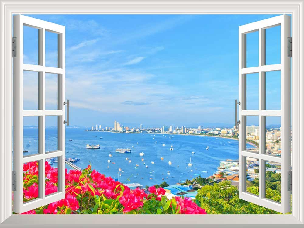 Wall mural beach of pattaya creative window view wall for Beach view wall mural