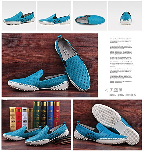 HAPPYSHOP(TM) Mens Casual Moccasin Loafers Leather Driving Shoes Comfort Slip-on Shoes EUR Size 38-44 Blue (Style B) I94NWyM5VA