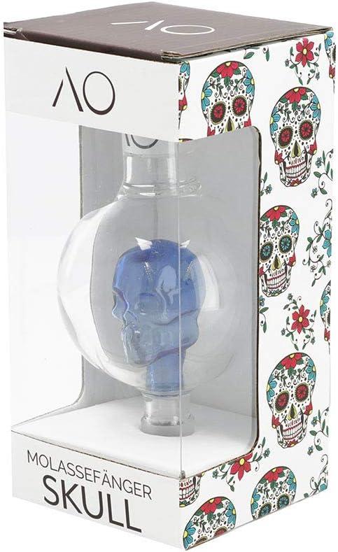AO® Cachimba Recoge melaza en Vidrio Skull | Cut 18.8 | Pre Enfriador Recuperador colector de melaza en Cristal en Forma de Calavera (Azúl)