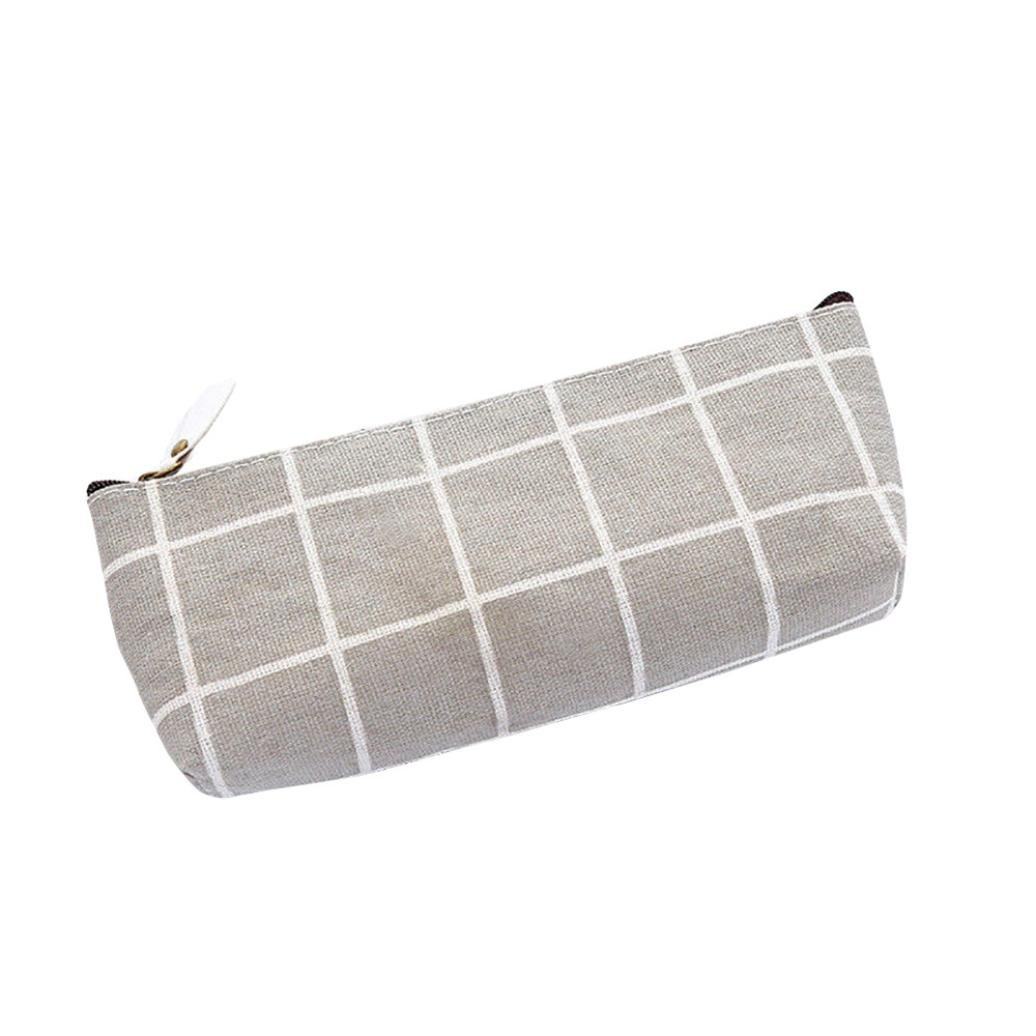 Pencil Case Plaid for Girl Boys, Iuhan Stripe Canvas Pencil Holder Organizer Pencil Case Plaid Cosmetic Makeup Bag Storage Pouch Purse for Kids Adults (Gray)