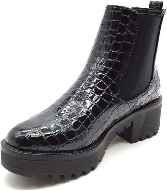 Chaussure Mode Bottine Botte Chelsea Boots Motard Motarde Moto Biker Femme Effet Peau de Serpent Python l/éopard Perle Talon Bloc 4 CM Angkorly