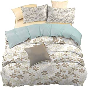 hengshu 3-Pack (1 Duvet Cover and 2 Pillowcases) Bedding, Polyester - Soft and Breathable, Flower, Flowers Bouquet Blooms, W80 x L90 Inch, Fade Resistant
