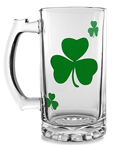 irish beer mug clear glass beer stein with green shamrock design st patricks