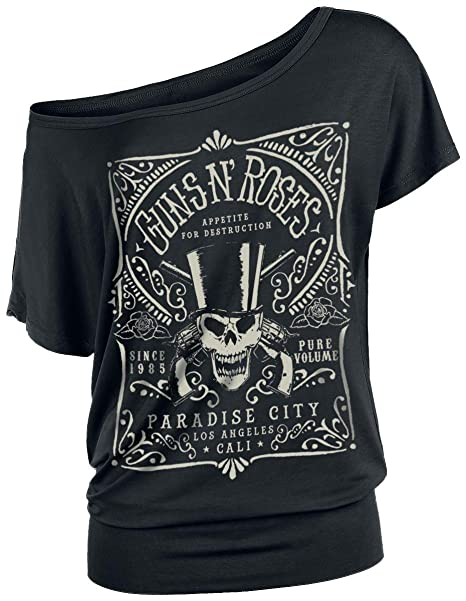 Guns N Roses Paradise City Label Camiseta Negro: Amazon.es: Ropa y accesorios
