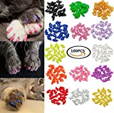 100Pcs Colorful Cats Paws Grooming Nail Claw Cap + 5Pcs Adhesive Glue + 5Pcs Applicator Soft Rubber Pet Nail Cover