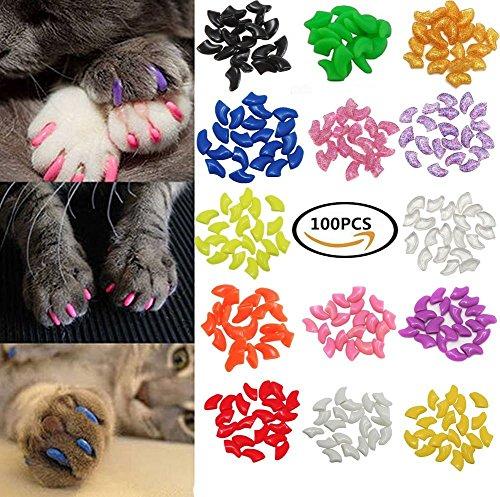 100Pcs Colorful Cats Paws Grooming Nail Claw Cap + 5Pcs Adhesive Glue + 5Pcs Applicator Soft Rubber Pet Nail (Rubber Nails)