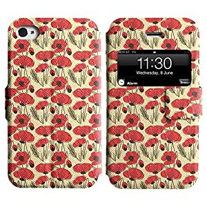 AADes Scratchproof PU Leather Flip Stand Case Apple iPhone 4 / 4S ( Flower Sketch )