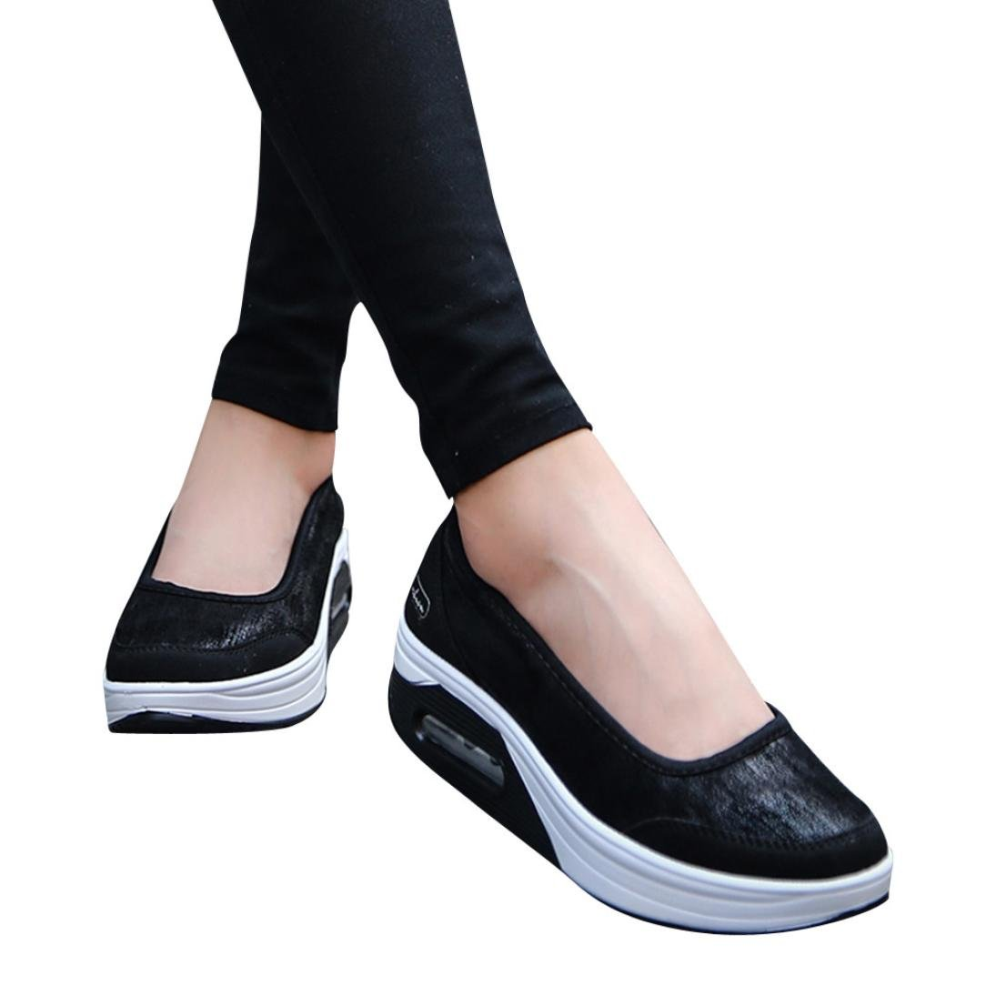 Big Promotion! Women Casual Shoes, Neartime 2018 Fashion Air Cushion Platform Shoes Shallow Round Toe Sport Sneakers (US:8, Black)
