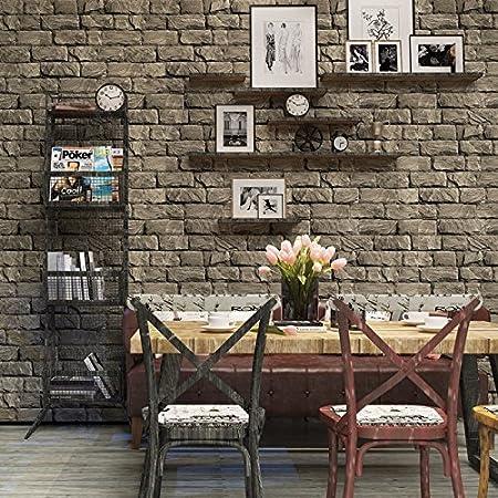 Huangyahui retro nostalgic 3d 3d brick brick wallpaper cafe