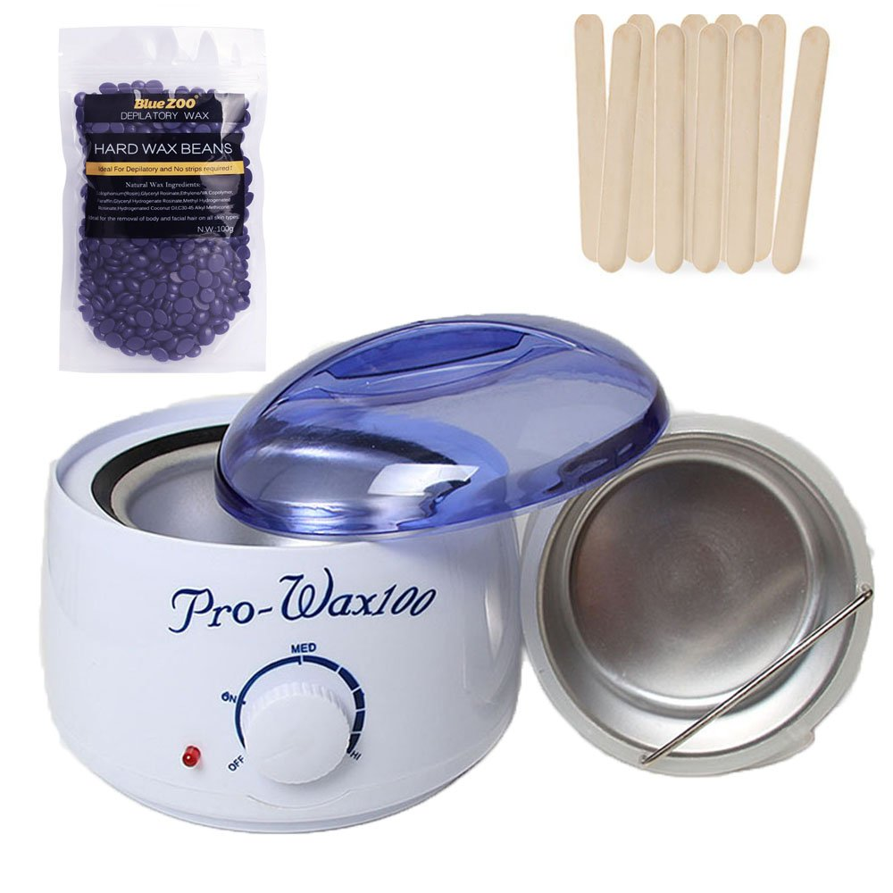 Rapid Melt Hair Removal Waxing Kit Electric Hot Wax Warmer Melting Pot Electric Portable Depilatory Machine with Hard Wax Beans(Lavender) and Wax Applicator Sticks PUMPUMLY