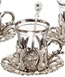 Set of 6 Turkish Style Tea Glasses with Brass Holder Saucer and Spoons Set Silver Plated 24 Pieces by BOSPHORUS