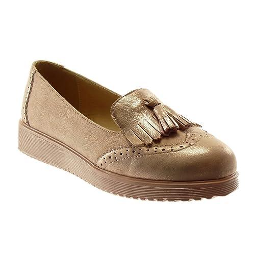 Angkorly Zapatillas Moda Mocasines Slip-on Bimaterial Metalizado Mujer Fleco Pompom Perforado Plataforma 3 CM: Amazon.es: Zapatos y complementos
