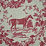 100% Linen Fabric Equestrian Horse Print 'The Noble Horse' in Traditional Toile De Jouy Style - Rich Bordeaux Red on a Cream White Pure Linen Cloth - French Designer Fabric 55 Inches Wide ~ Sold By the Yard