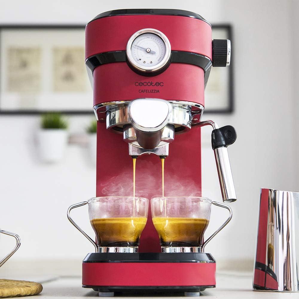 Cecotec Cafetera Express con Manómetro Cafelizzia 790 Shiny Pro. Brazo con Doble Salida y Dos filtros, 20bares de Presión, Depósito extraíble de 1,2L, 1350W, Rojo: Amazon.es: Hogar