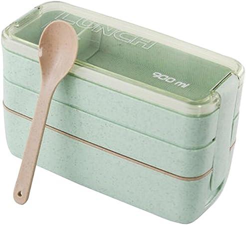 Blé Fibre paille micro-ondes Lunch Box Food Container Bento Cuillère Baguettes