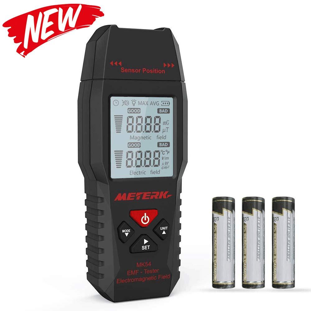 EMF Meter Meterk Electric Field and Magnetic Field Radiation Handheld Mini Digital LCD Temperature EMF Detector Dosimeter Tester by Meterk