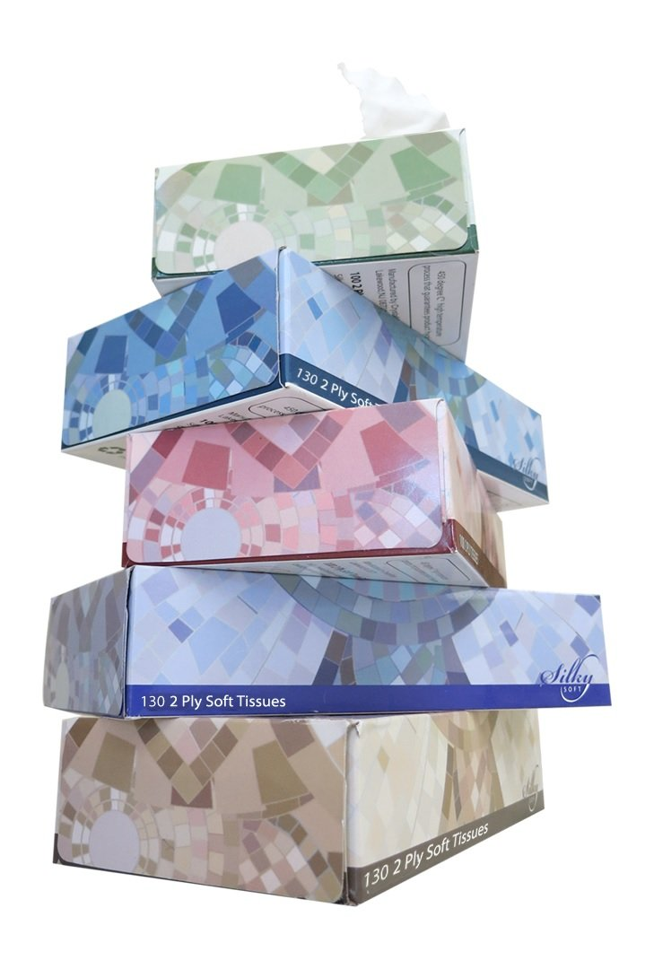 Silky Soft T1302P36 2-Ply Facial Tissues Flat box, White(Case of 36 Boxes, 130 sheets per Box)