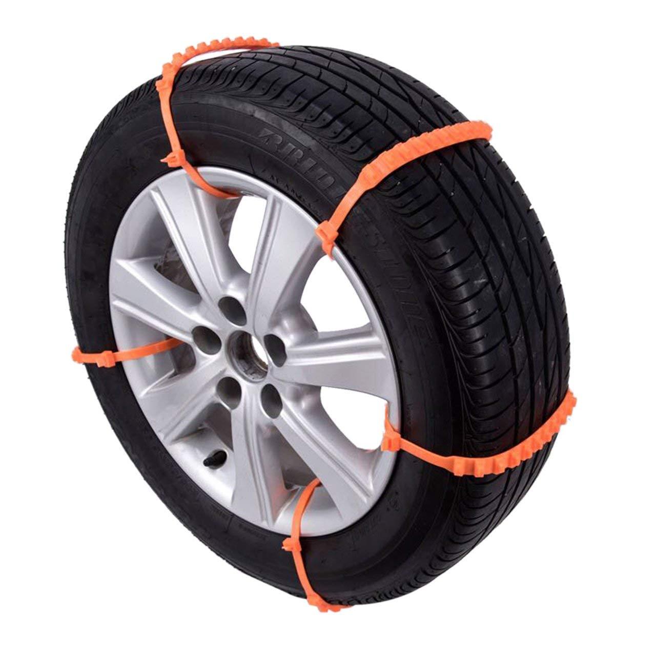 Jasnyfall Auto-Reifen-Schnee-Ketten Schnee-Reifen-Ketten 10Pcs Satz Universal-Anti-Rutsch-Auto SUV Kunststoff Winterreifen R/äder Schneekette Orange