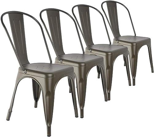 H JINHUI Vintage Metal Dining Chair