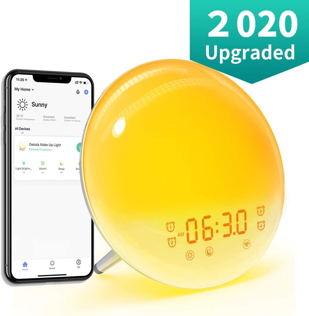 Dekala Sunrise Alarm Clock, WiFi Smart Wake Up Light Digital Alarm Clock FM Radio Sleep Aid with Sunset Simulation, 20 Brightness, 7 Natural Sounds, 4 Alarms, 7 Color Night Light, Snooze