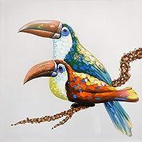 Pittura Ad Olio Dipinto A Mano Su Tela,Astratto Animale Dipinti,Amore Colorati Uccelli Sul Ramo,Moderno Stile Europeo Da Parete Decorazione Per Ingresso Soggiorno Camera Da Letto Bambini Adulti Dono