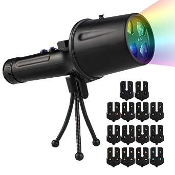 Proyector de luz LED, proyector de Navidad portátil con 14 ...
