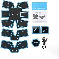 Buikstimulator, EMS-spierstimulator, spiertrainer, oplaadbare USB-batterij, draagbare spiertoner voor mannen en vrouwen, 3 kleuren blauw