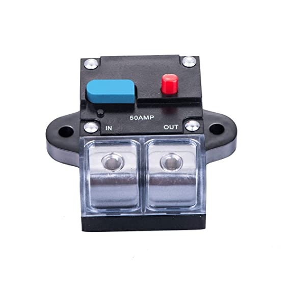 CompStudio 2 Piece 50A 50 Amp Circuit Breaker Reset Fuse Holder Inline Fuse For for Auto Car Marine Boat Stereo Switch Audio Inverter System Protection