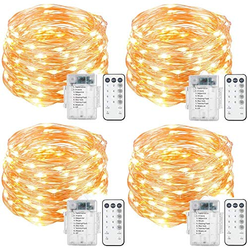 4 Set LED String Lights Battery Operated Fairy Lights, Waterproof 8 Modes 20ft 60 LED Copper Wire Firefly Lights Remote Timer Bedroom Wedding Party Decoration Lights Warm White (4 Step Tiny Pet Stairs)