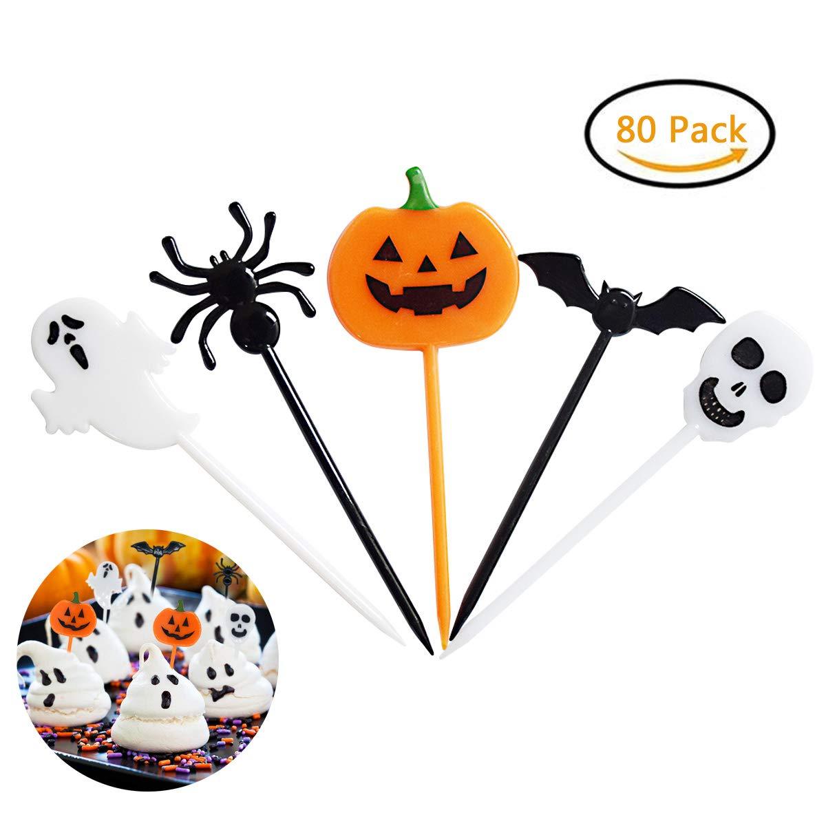 Halloween Food Picks Cupcake Toppers Decorations Halloween Party Picks Halloween Toppers With Ghosts Spider Pumpkin Skull Bat Design Plastic Decorative Food Picks Holiday Picks IMOSA