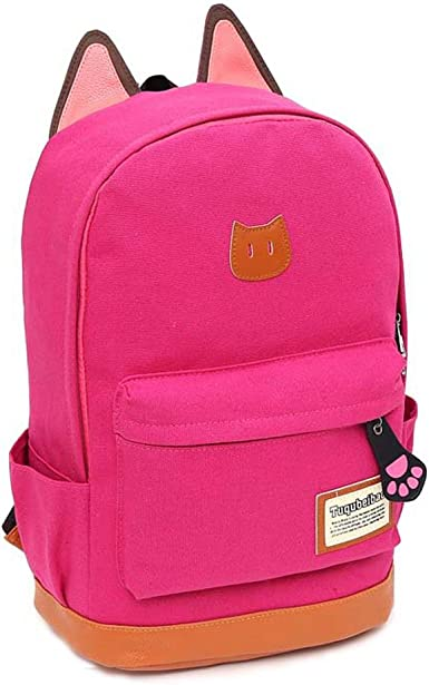 Girl/'s Cute Cat Ear Cartoon Canvas Backpack Stachel Rucksack Shoulder School Bag