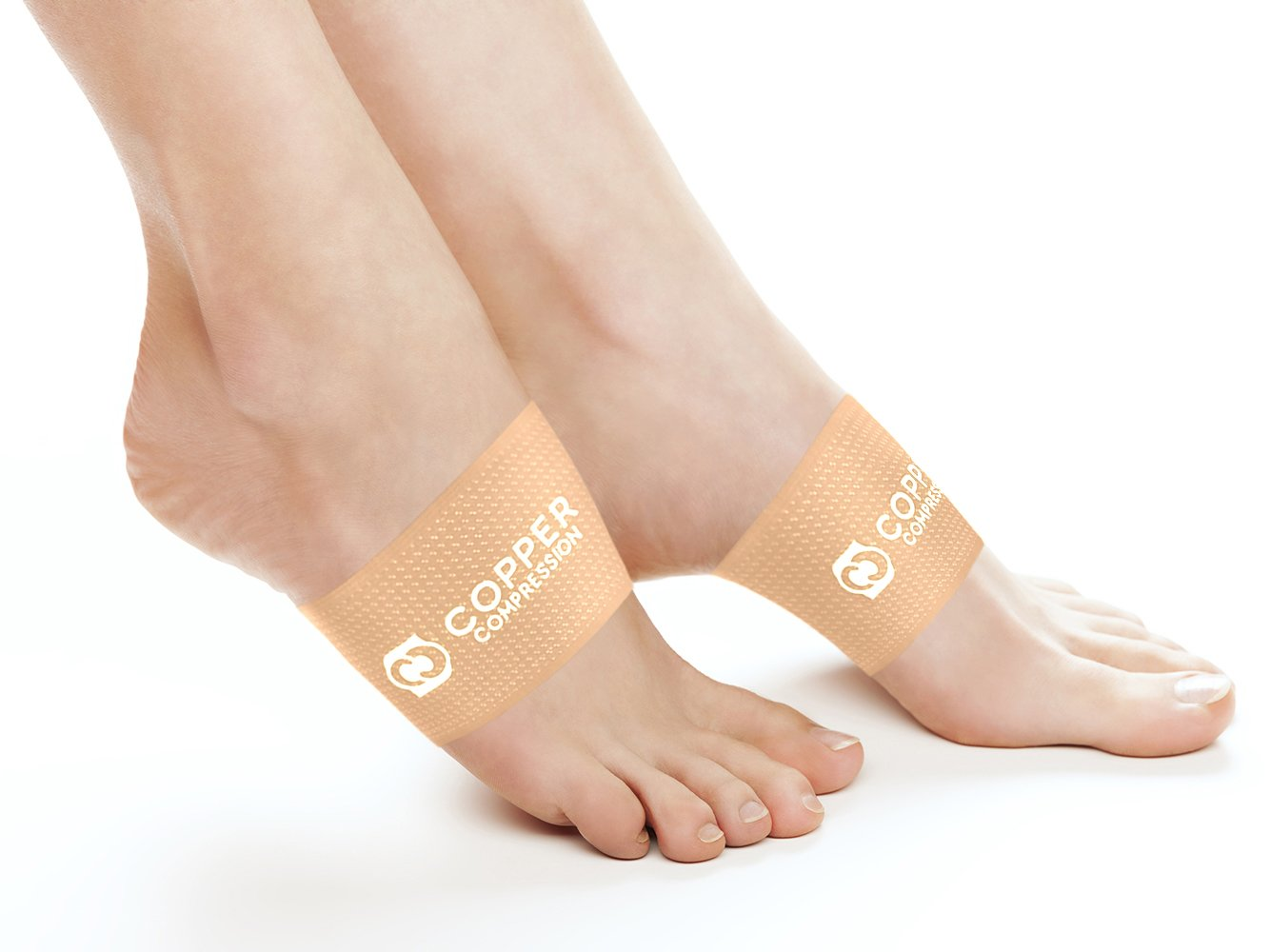 Copper Compression Copper Arch Support - 2 Plantar Fasciitis Braces / Sleeves. GUARANTEED Highest Copper Content. Foot Care, Heel Spurs, Feet Pain, Flat Arches (1 PAIR Nude Color - One Size Fits All)