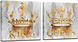 sechars Romantic Bedroom Wall Art Modern Golden Queen and King Crown Painting Art Prints on Canvas Contemporary Grey and Gold Artwork Ready to Hang Couples Annivesary Wedding Gifts