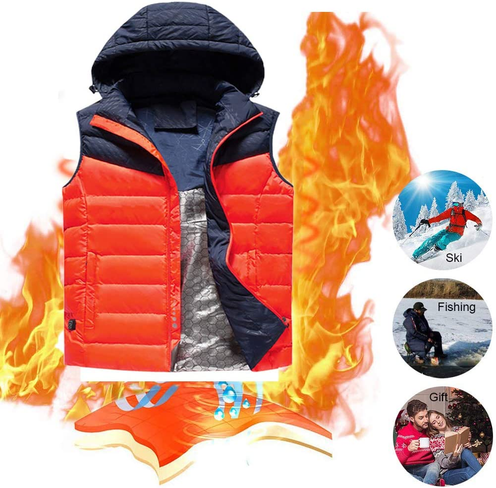 ALUCE Electric Heated Vest, New Washable 5V Heated Waistcoat for Men and Women, 5 Heating Pads, 3 Stalls Adjustable Temperature, USB Charging Electric Waistcoat for Skiing, Hiking, Hunting, Camping
