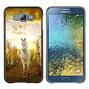 """Be-Star Único Patrón Plástico Duro Fundas Cover Cubre Hard Case Cover Para Samsung Galaxy E7 / SM-E700 ( Nubes Caballos Naturaleza Sunset Mustang"""" )"""