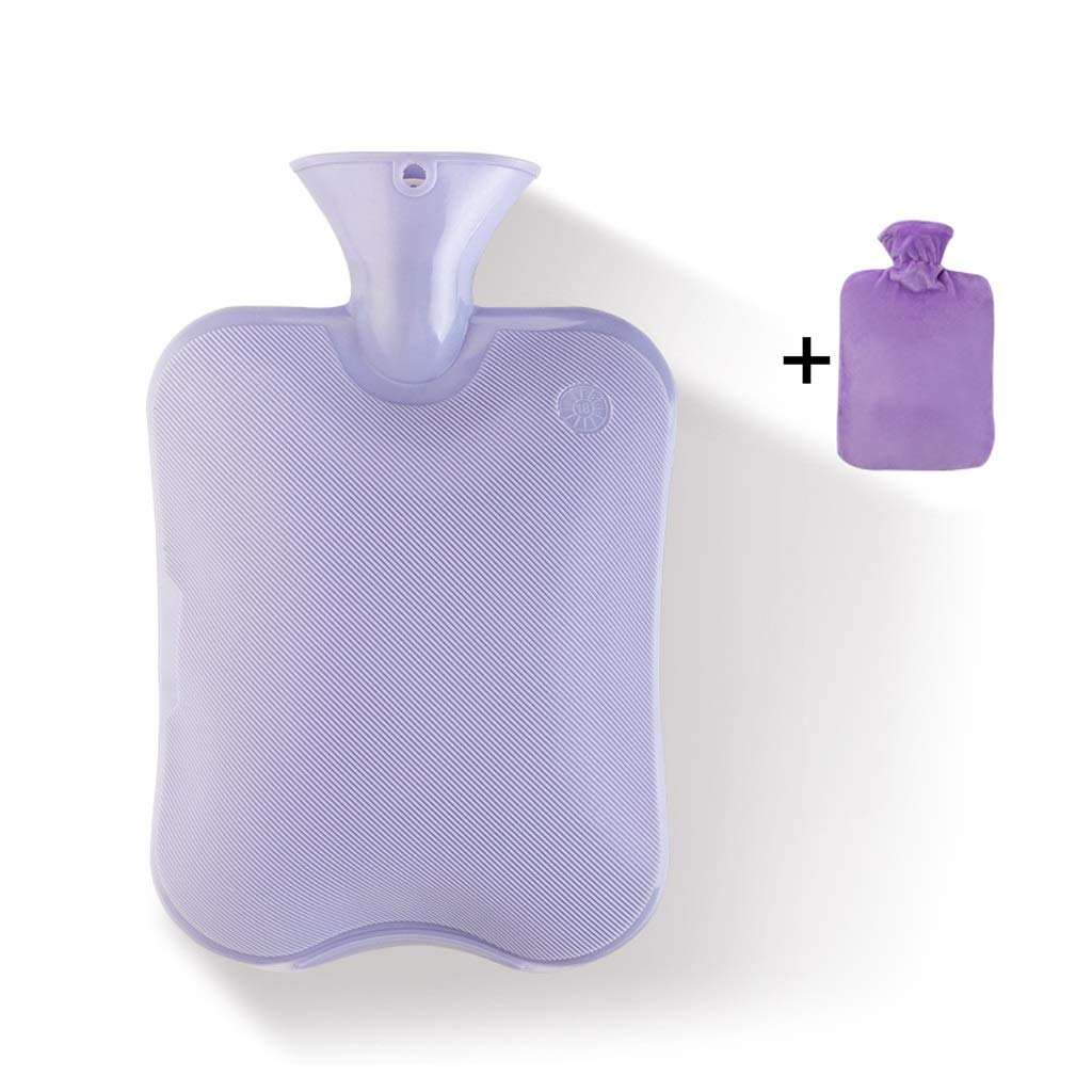 Premium Simple Rubber 2L Hot Water Bag,Great for Pain Relief, Hot and Cold Therapy,Natural Rubber BPA Free- Durable Hot Water Bottle (Color : Purple)