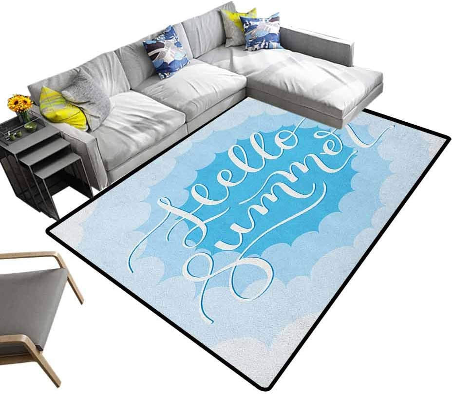 Hello Summer Large Area Rugs Vintage Typography Curvy Cloud Across The Sky With Shades Of Blue Kids Carpet Mint Green Seafoam Blue 6 6 X8 Amazon Ca Home Kitchen