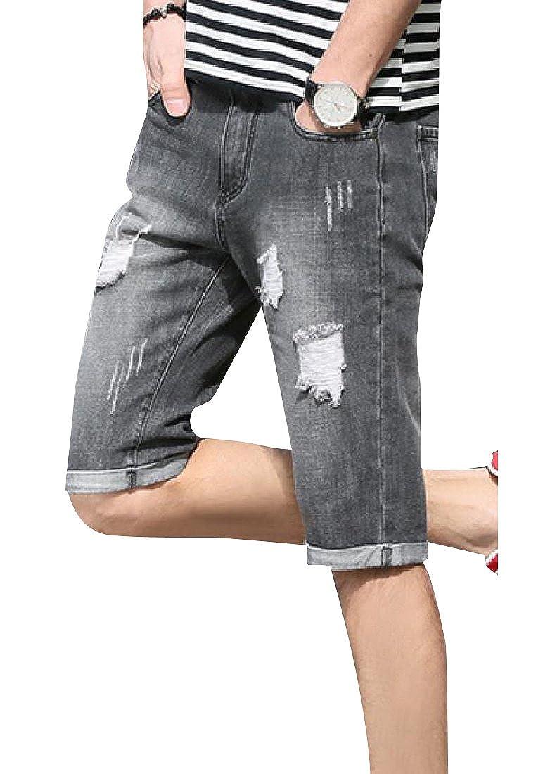 YUNY Men High Street Broken Hole Slim-Tapered Mid Waist Jean Short Black 29