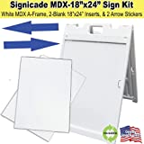 """The """"Signicade MDX"""" Portable Sign Stand Kit with Sign Inserts and FREE ARROW STICKERS! (White)"""
