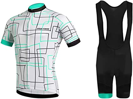 Mens Cycling Jersey Half Sleeve Bike Team Racing Top Gel Padded Bib shorts Set
