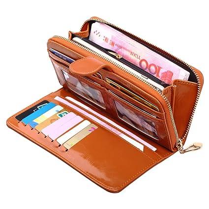 f31b48f1297 Cartera para Mujer RFID Bloqueo Wallets Cuero de PU Carteras Estuches y  Organizadores de Dinero Cremallera